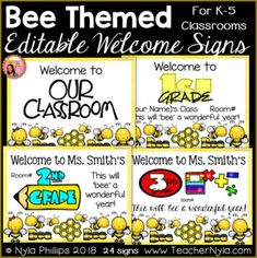 Editable Welcome Signs for K-5 - Bee Theme