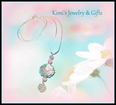 Necklace  Lamp Work Glass Blue & Pink by kidalski on Etsy, $15.11
