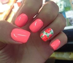 These nails are ready for Spring! #SpringNails #Manicure #FloralNails #HotPink