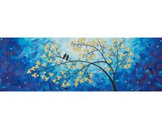 """Moonlight Sonata"" by QIQIGallery 36""x12"" Original Painting"
