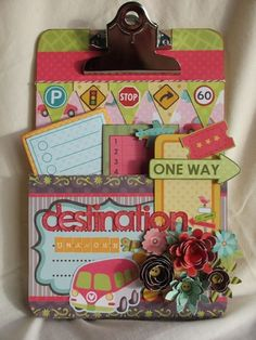 I so love this little travel-themed embellished clipboard. Someone play the SWOON TUNE please:)