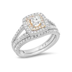 1.00 Carat (ctw) Two Tone Rose Gold Plated 10K White Gold Round Cut... ($749) ❤ liked on Polyvore featuring jewelry, rings, rose, diamond rings, two tone engagement rings, wedding rings, round cut rings and round diamond ring
