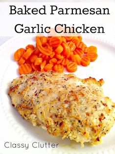 "Baked Parmesan Garlic Chicken: Pinner~""aka the most delicious chicken you will ever make in your life. Only a few easy ingredients makes this chicken to die for!"""