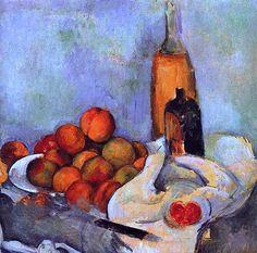 Paul Cezanne - Bouteilles et pêches (1890)