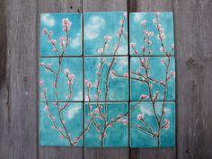 Cherry blossom ceramic tiles by damsontreepottery