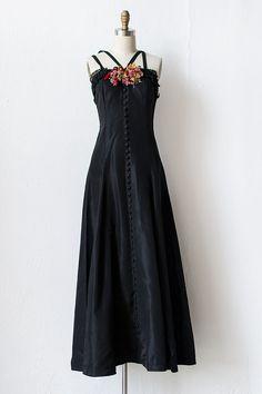 vintage 1940s black taffeta buttoned gown | Elegant Devotions Dress