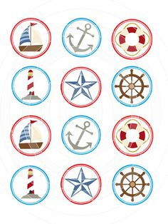 """Cute Sailor / Nautical Themed Frosting Sheet Cupcake Topper / Cookie Topper - Edible Image Printed on 12 x 2"""" circles. $10.25, via Etsy."""