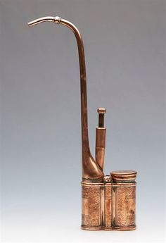 ANTIQUE CHINESE QING COPPER OPIUM WATER PIPE SIGNED 19TH C.