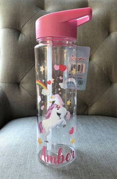 0f4f1701a1aa1 Enchanted Rainbows Unicorn drinks water bottle with flip lid. Can be  personalised with name