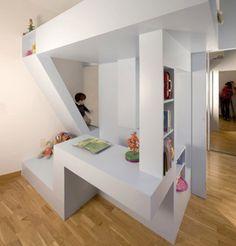 Creative Kids Bedroom Decorating Ideas: All-in-One Creative Children's Bedroom & Playroom Design Playroom Design, Kids Room Design, Modern Playroom, Loft Spaces, Small Spaces, Play Spaces, Creative Kids Rooms, Room Interior, Interior Design