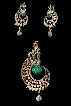 Breguet, marquise and round shaped american diamond pendant set with green colour stones in two tone plating