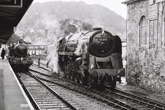 'Black Prince' waits steaming in the rain at Minehead. Meanwhile WSR Mogul No. Abandoned Train, Abandoned Cars, Steam Railway, British Rail, Old Trains, Steamers, Train Car, Ways To Travel, Steam Engine