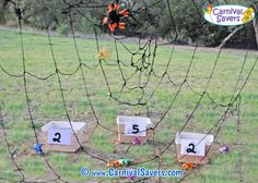 Players try to toss bugs through the web into buckets behind. Scale down for indoor play. Halloween Carnival Games, Fall Carnival, Kids Carnival, School Carnival, Carnival Ideas, Fall Festival Booth, Halloween Festival, Halloween Birthday, Halloween Kids