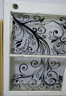 Here is my new kitchen utensil caddy turned art utensil caddy. Vintage Windows, Old Windows, Windows And Doors, Wooden Windows, Old Window Art, Window Pane Art, Old Window Projects, Window Ideas, Painted Window Panes