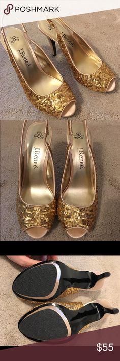 Gold Sequin Slingback Pumps New, never worn gold sequin peep toe pumps. Nordstrom Shoes Heels