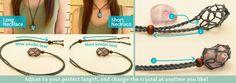 Crystal Hemp Pouch Necklace - adjustable & interchangealbe