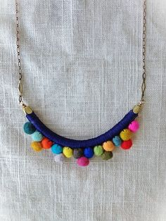 The FRANKIE Necklace--Multicolored--Handmade with Felted Wool Pom Poms, Cotton, Leather, and Brass Jewelry Crafts, Jewelry Art, Jewelry Accessories, Handmade Jewelry, Jewelry Design, Fashion Jewelry, Felt Necklace, Fabric Necklace, Diy Necklace