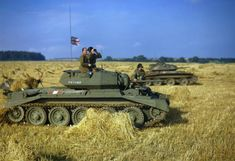 General Bernard Paget in a Crusader tank of British 42nd Armoured Division during an exercise near Malton, Yorkshire, England, United Kingdom, 29 Sep 1942; note Covenanter tank in background