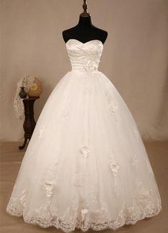 Flower Net Strapless Wedding Dress