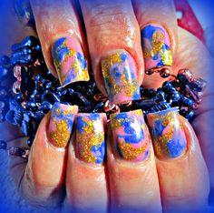 Marbled acrylic nails