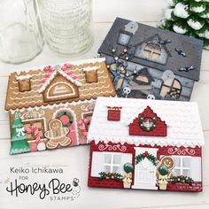 12 Days of Christmas: Winter House Shaped Card : Honey Bee Stamps Christmas Blessings, 12 Days Of Christmas, Christmas Ideas, Diy Resin Crafts, Paper Crafts, Honey Bee Stamps, Bee Cards, Shaped Cards, Paper Craft Supplies