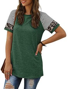 JomeDesign Casual Tops for Women Short Sleeve Leopard Print Patchwork Striped T-Shirt Blouses S-XXL - DeepShopo - Apparel and Accessories Store Casual Tops For Ladies, Leopard Print Leggings, Accessories Store, Skinny Fit, Shirt Blouses, Autumn Fashion, Tunic Tops, Sleeves, How To Wear