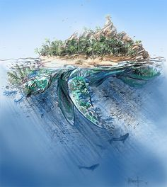 Zaratan- medieval myth: an enormous turtles that its shell was so massive that trees would grow on its back and sailors would mistake it for an island and anchor there. Unfortunately, at night it would go under water and drown all the inhabitants. It emitted a sweet smell from its mouth that attracted fish.