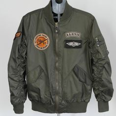 Mens U.S Army Military Classic Bomber Flight Jacket Pilot jacket Air Force Tactical Jacket Orange Lining ...