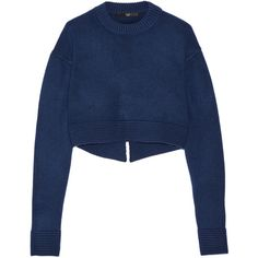 Tibi Cropped cashmere sweater ($405) ❤ liked on Polyvore featuring tops, sweaters, navy, navy blue sweater, navy blue cropped sweater, loose crop top, navy blue tops and blue sweater
