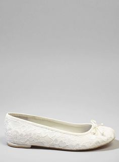 Odessa Lace Ballet Pumps, Ivory - BHS