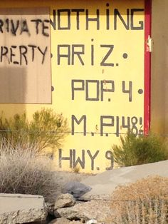 Nothing, AZ Population 4 Mile Post Highway 93 Pop 4, Decor, Decoration, Decorating, Dekorasyon, Dekoration, Home Accents, Deco, Ornaments