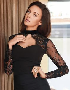 Lipsy Love Michelle Keegan Lace Choker Body is a unique piece and perfect for the party season, featuring a sweetheart neckline. Pair this beaut with a midi skirt and complete the look with sexy ankle strap heels! Classy Sexy Outfits, Cute Fashion, Fashion Beauty, Michelle Keegan, Lace Body, Portraits, Female Stars, Ankle Strap Heels, Ankle Straps