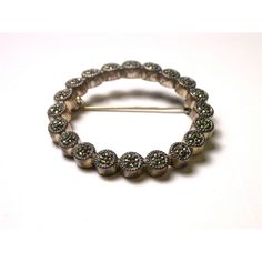 Vintage Marcasite Circle Brooch Weight 12.5 Grams REDUCED ($45) ❤ liked on Polyvore featuring jewelry and brooches