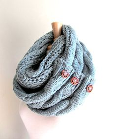 50a3e8e0b2b Infinity Scarf with Buttons Braided Cable Lightweight Knit Neckwarmer Loop  Circle Scarves Fall Winter Women Girls Accessories
