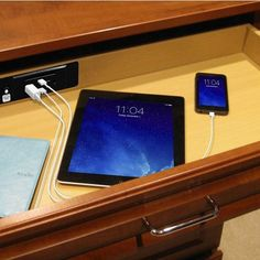 """Hafele Docking Drawer, 24"""" Slim, for In-Drawer Electrical Outlets and USB Charging, with 6' Power Cord, 2 AC Outlets & 2 USB Ports, Black"""