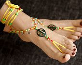 Boho Barefoot Sandal. Yellow Gypsy Shoes. Barefoot sandals. Anklet