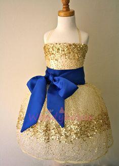 Gold Constellation Flower Girl Dress Navy Blue by DolorisPetunia Gold Flower Girl Dresses, Gold Bridesmaid Dresses, Gold Bridesmaids, Gold Dress, Girls Dresses, Flower Girls, Party Dresses, Party Outfits, Pageant Dresses