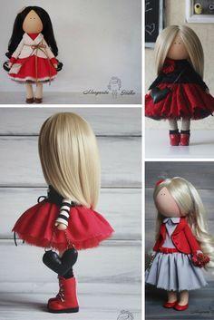 Soft doll red black blonde Handmade doll Nursery decor Tilda doll Art doll Baby doll Rag doll unique magic doll by Master Margarita Hilko Black And Blonde, Red Black, Girl Dolls, Baby Dolls, Cat Doll, New Dolls, Soft Dolls, Fabric Dolls, Beautiful Dolls
