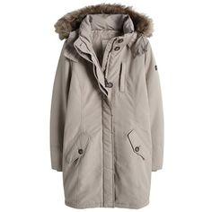 Taillierter beiger Mantel von Esprit. Dank der großen Kapuze in Felloptik wird Dir bestimmt nicht kalt. #beige #nude