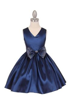Flower girl dress navy blue taffeta with by CreativeCabral on Etsy