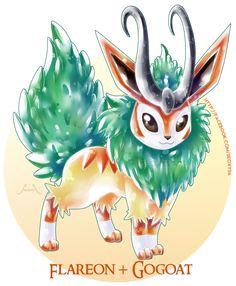 Artist Creates Wild Pokemon Fusions(alex-try leafeon and gogoat? Pokemon Team, Pokemon Pins, Pokemon Memes, Pokemon Cards, Pokemon Fusion Art, Pokemon Eeveelutions, Eevee Evolutions, Pokemon Breeds, Catch