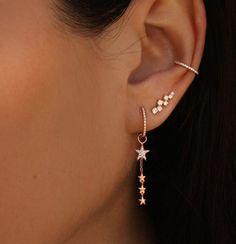 Star Dangle Huggie Hoop Earrings (Pair) – SpiritAdornments Source by mufeha piercings Prom Jewelry, Ear Jewelry, Cute Jewelry, Jewelery, Jewelry Ideas, Jewellery Earrings, Jewellery Box, Jewelry Findings, Jewelry Quotes