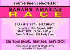 Amazing Race party supplies and invitations! 16th Birthday, Birthday Ideas, Birthday Parties, Birthday Party Invitations, Invites, Amazing Race Party, Search Party, Relay Races, Scavenger Hunts