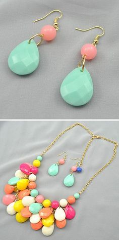 Mint and Pastel Earrings and Necklace