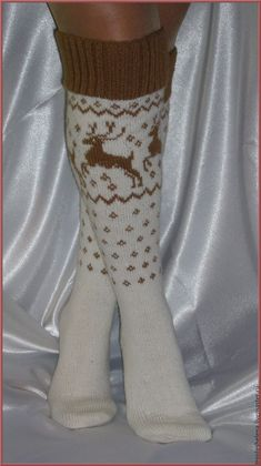 Купить Гольфы с оленями - гольфы, носки, подарок, ручная работа, разноцветный, аксессуары, шерсть Socks, Fashion, Moda, Fashion Styles, Sock, Stockings, Fashion Illustrations, Ankle Socks, Hosiery