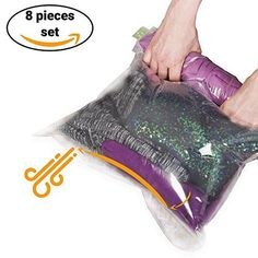 """8 Travel Storage Bags for Clothes - No Vacuum or Pump Needed -Reusable Space Saver Packing Sacks (4 items - 28x20"""", 4 items - 24x16"""") - Rolling Compression for Luggage"""