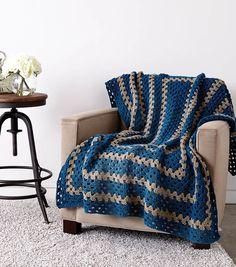 "Giant Granny Blanket:  2 Caron One Pound of Love in ""Ocean""; 2 Caron One Pound of Love in ""Taupe""... hook size I [5.5 mm]; measures 54"" x 62"""