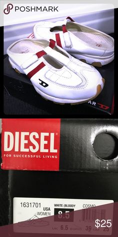Diesel Cosmo slide, 8.5 Athletic/lifestyle slide; lightly worn with box; relatively clean for a white shoe Diesel Shoes Mules & Clogs