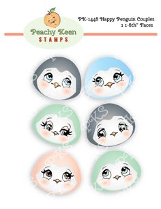 PK-1448 Happy Penguin Couples 1 1/8 Faces: Peachy Keen Stamps | Home of the original clear, peach-tinted, high-quality whimsical face stamps.