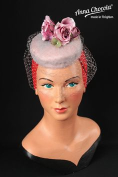 1940s 50s PILLBOX HAT SILK Birdcage veil nude pink mauve ROSE races Anna Chocola in Clothes, Shoes & Accessories, Women's Accessories, Hats | eBay